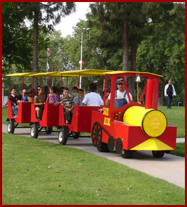 Red Trackless Train